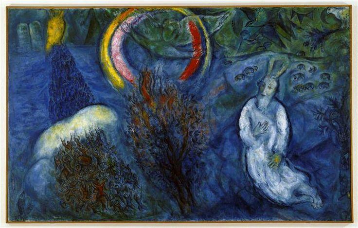"marc chagall the burning bush | Moisés con la zarza ardiente (4)"", óleo sobre lienzo de Marc ..."