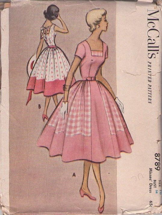 McCalls 8789 Vintage 50s Sewing Pattern FESTIVE Rockabilly Contrast Side Insets Full Skirt Square Neck