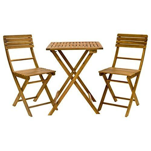 Summer Wooden Folding Dining Chairs Natural Table Patio Set