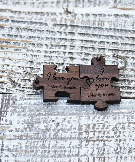 Stamp Out Online I Love You Personalized Puzzle Key Chain - Set of Two | zulily