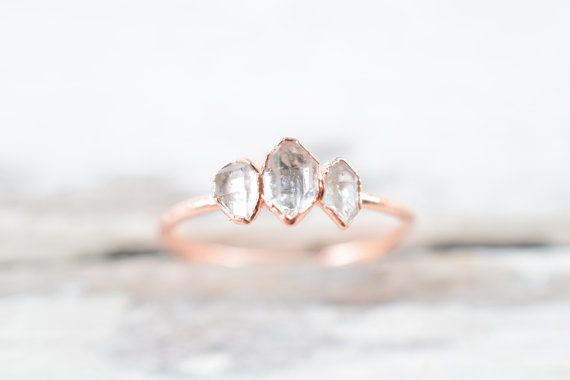 £40 Gorgeous three stone Herkimer diamond rings in pure copper. These sparkling Diamond quartz rings feature Crystals with a larger central stone. They