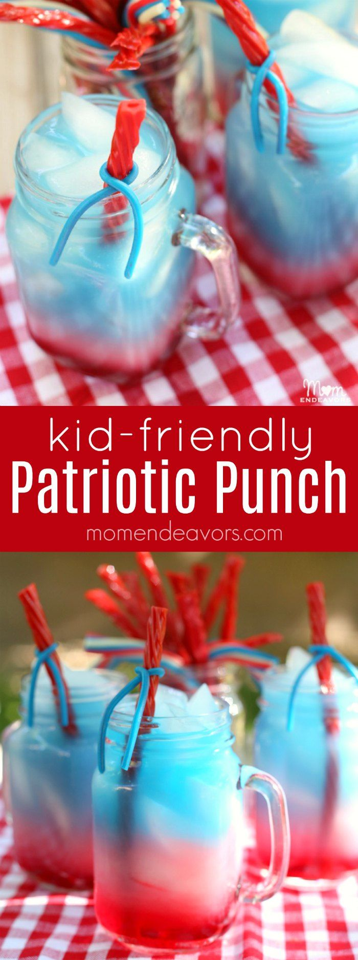 This fun, kid-friendly layered patriotic punch with edible straws is a perfect 4th of July party drink!