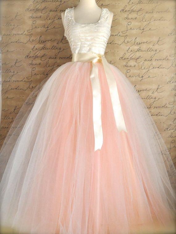 Full length blush tulle full length skirt. Ivory and antique tulle lined in ivory satin for women. Weddings and formal wear.. $345.00, via Etsy.
