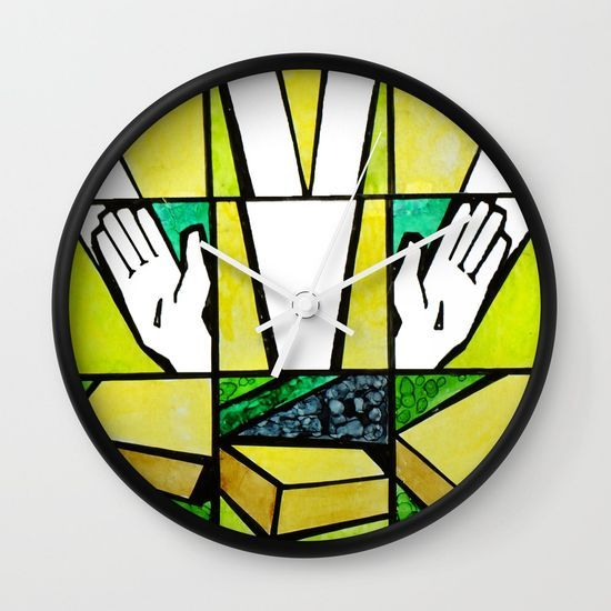 Abstract, qubism, square, Resurrection, Easter Sunday, tomb, Jesus, Christ Wall Clock