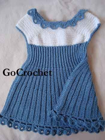 Did you miss this sweet little dress the first time it appeared in Interweave Crochet, Summer 2008? Have no fear it is here! See on Ravelry all the versions of this dress people have already crocheted in green and lavender too! Make it in all white for a Christening gown. Available in sizes 3 (6, 9, 12) months.