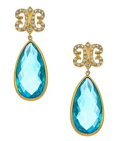 KiraKira Teal Topaz & White Sapphire Arabesque Earrings #maxandchloe