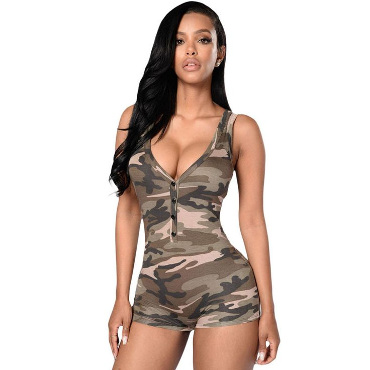 Camouflage Shorts Playsuit V-Neck Sleeveless Sexy Rompers Jumpsuit Shorts Skinny Jumpsuit