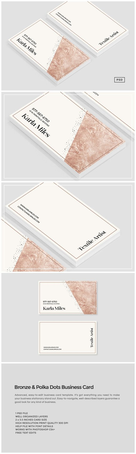 Bronze & Polka Dots Business Card by Design Co. on  @creativemarket #business #cards #card #businesscard #businesscards #print #theme #template #stock #design #download #website #logo