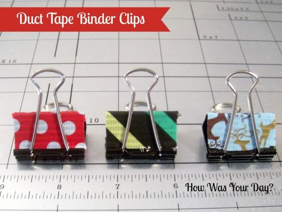 Fun duct tape decorated binder clips.  Quick and easy fancy stationery!