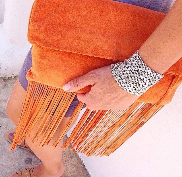 Streetsbags#clutch#orange#tassels