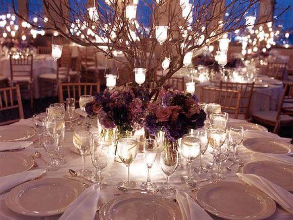 Centro de mesa para boda de noche