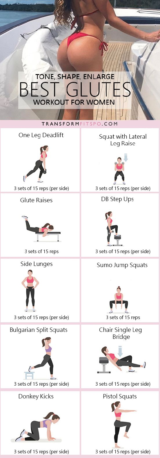 This workout combines the best glute exercises designed to target all of your bum. These will tone, lift, round and enlarge your buttocks. Do this workout circuit and you will know exactly how to g…