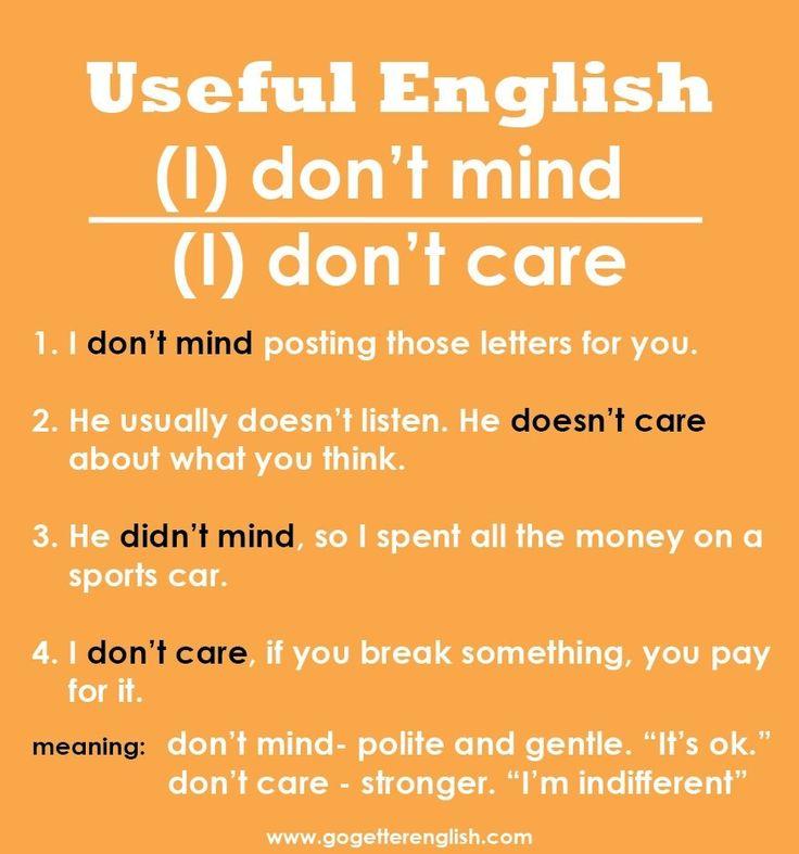don't mind vs don't care