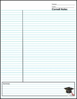 Cornell Note Paper - The Cornell method provides a systematic format for condensing and organizing notes. Copy this double sided, three hole punch and guide your students to success!
