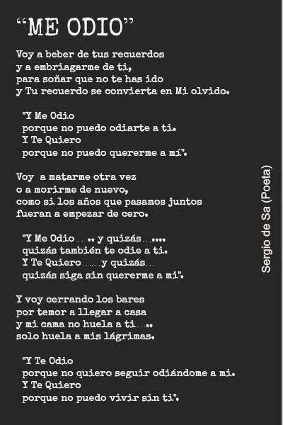 Me odio.  poema de Sergio de Sa