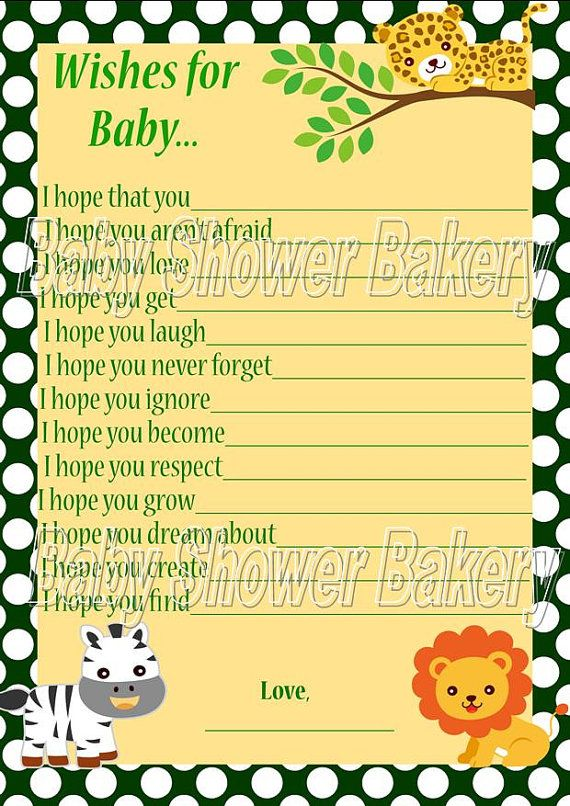 Jungle Baby Shower Game, Wishes For Baby, Jungle Theme Baby Shower Game,  Baby Wish Card, Instant Download Baby Shower Game, Safari Baby Wish