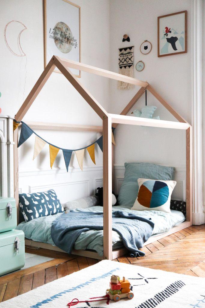 chambre enfant lit cabane en bois a
