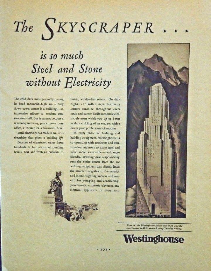 Westinghouse Electric  30 s print ad  B W Illustration  skyscraper  1930 Fortune Magazine Art