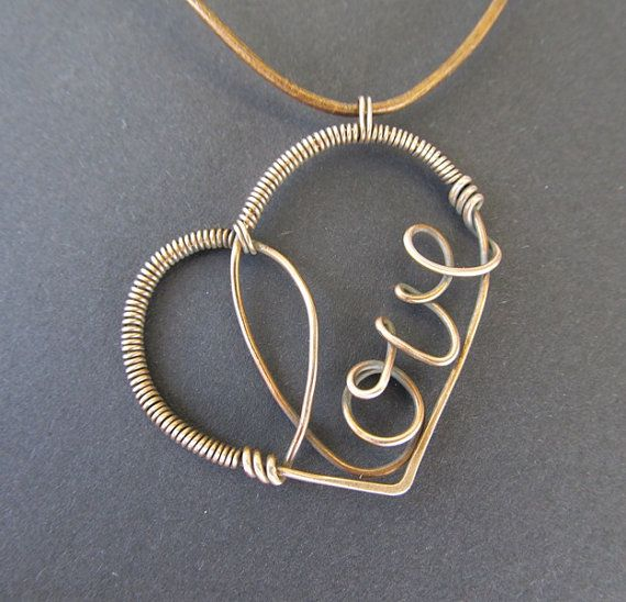 brown bronze necklace wire wrapped gold love heart anniejewelry