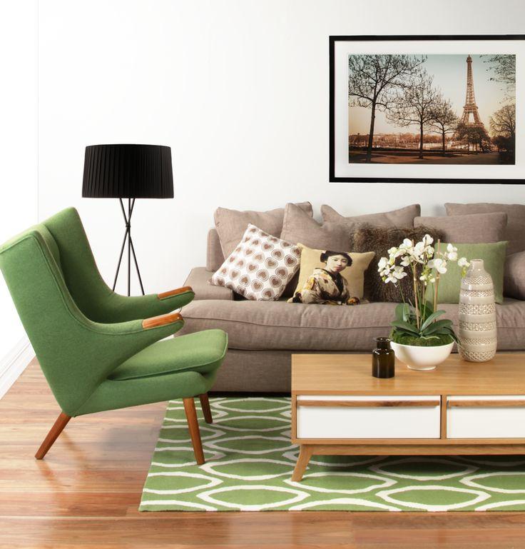 Replica Hans Wegner Papa Bear Chair and Ottoman by Sagano - Matt Blatt