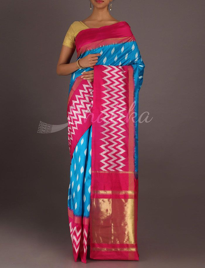 Vasanthi Twinkling Dockets Hot And Cool Ikat #PochampallySilkSaree