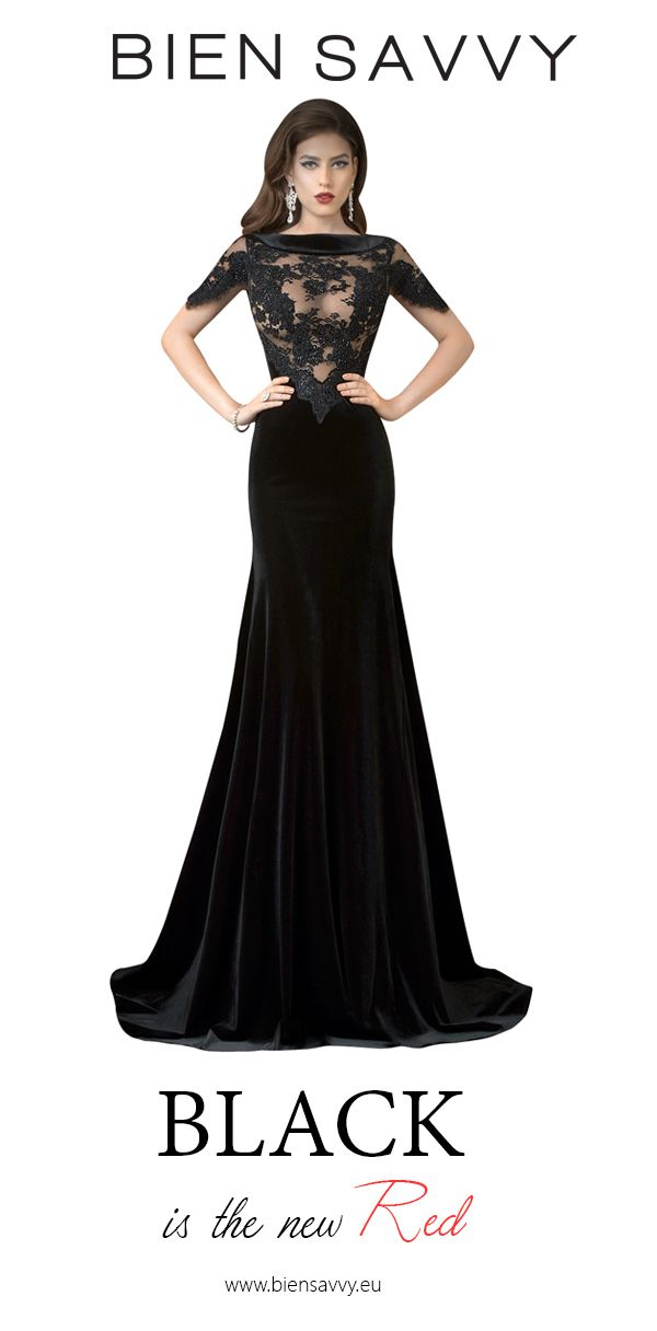 Black is the new Red.  Follow Your Dress, black velvet evening dress by BIEN SAVVY