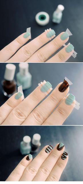 Diseños de uñas que puedes lograr usando cinta adhesiva
