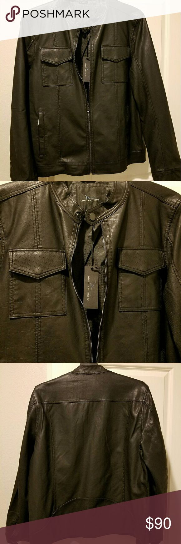Black Faux leather jacket Men's biker style, zip-up with top button collar Marc Anthony Jackets & Coats
