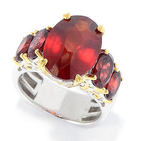 151-110 - Gems en Vogue 9.20ctw Tanzanian Hessonite & Almandine Garnet Five-Stone Ring