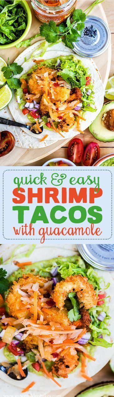 Delicious shrimp tacos with homemade guacamole - ready in about 15 minutes! Plus…
