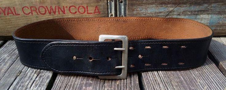 Vintage Lawman Black Leather Police Duty Holster Belt w/ Brass Hardware Men's 30 #Unbranded #MilitaryBelt