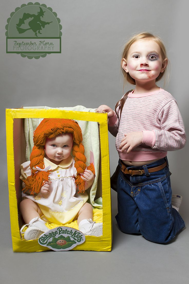 Cabbage Patch Riots of '83 | 5 yrs of daily dressup costume countdowns at Stellaween.com. Lots of original, easy, cheap, last minute, DIY, homemade costumes. Funny toddler costumes. Sisters costumes. Mommy daughter costume idea.