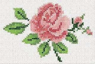 Cross Stitch Rose Embroidery Design..