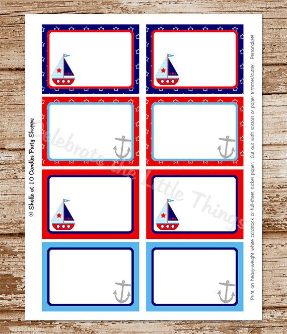 SAILBOAT Blank Labels Tags / DIY Printable / by CelebrateLilThings, $6.00