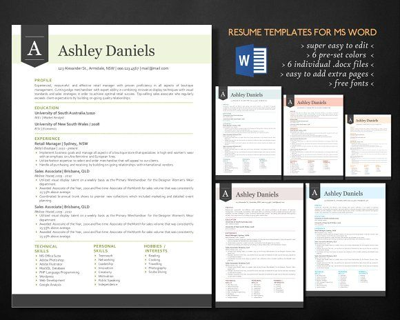 3 In 1 Banner Word Resume Pack Modern Words Best Resume Template Word Program