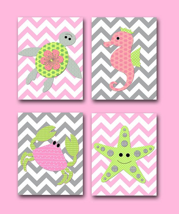 Sea Crab Turtle Baby Girl Nursery decor Children Art Print Baby Nursery Print Nursery Print set of 4 8x10 starfish Seahorse rose green gray