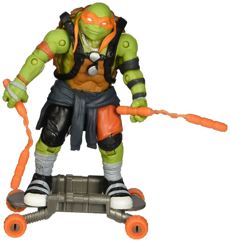 "Teenage Mutant Ninja Turtles Movie 2 Out Of The Shadows Michelangelo Basic Figure. Now you and Michelangelo can battle to save the city from evil!. 5"", fully pose able figure inspired by the movie Teenage Mutant Ninja Turtles Out of the Shadows from Paramount Pictures. Includes 2 nunchucks and rocket powered skateboard."