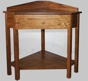 Small Corner Tables | Amish Mission Corner Table With Drawer Available In  Oak Or Cherry .