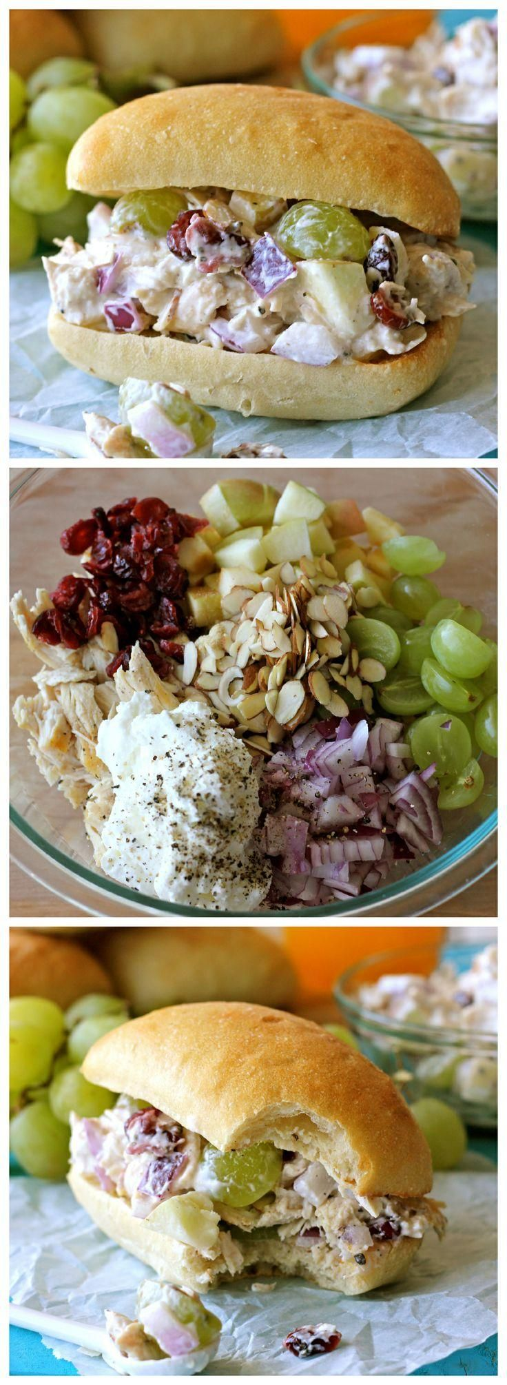 GREEK YOGURT CHICKEN SALAD SANDWICH . Chicken, grapes, onion, almonds, cranberries, Greek yogurt, salt & pepper