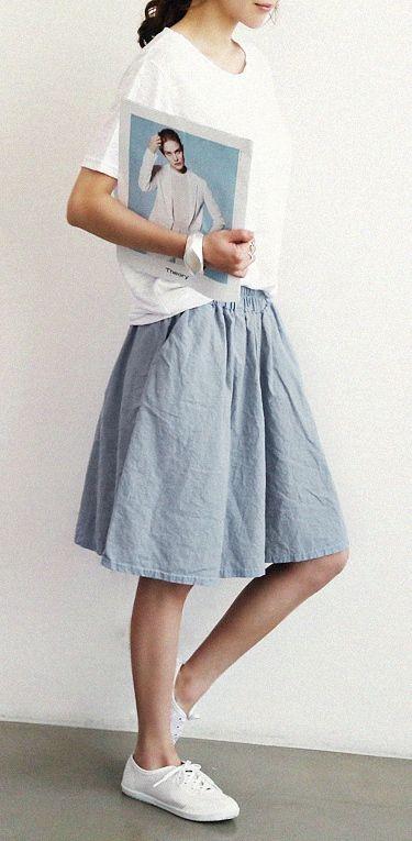 Naning9 - Linen Skirt - Loose Tee - Canvas Sneakers - Korean Fashion - Korean Style Clothing, Shoes & Jewelry : Women : Shoes : Fashion Sneakers : shoes  http://amzn.to/2kB4kZa