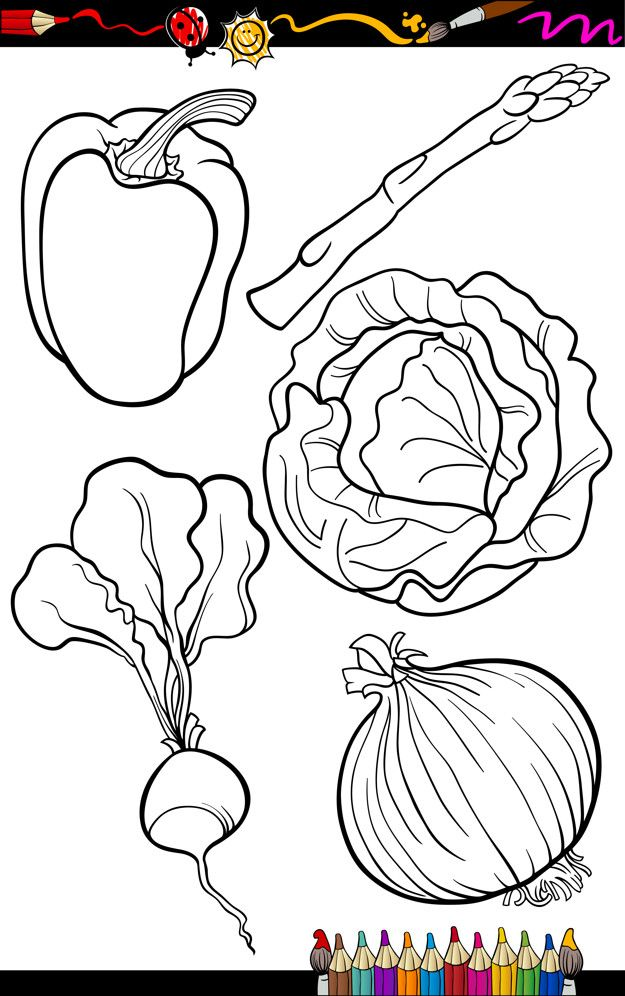 Cartoon Vegetables Set For Coloring Book Coloring Books Vegetable Cartoon Family Coloring Pages