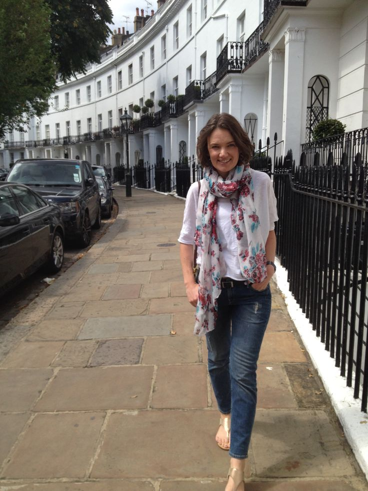 Scarf and white tee combo, elk, skin and threads, lee, London street style facebook.com/circleofstylebyrebeccagiles