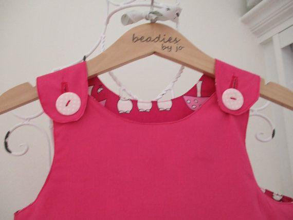 Reversible Dress  Lily Bobtail girls pinafore style by beadiesbyjo