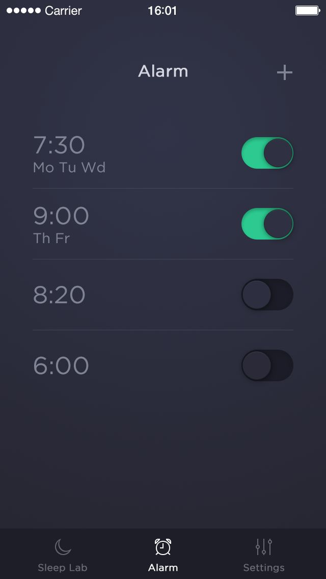 Sleep Time App by Michal Langmajer. The dark UI is far more suitable for setting alarms.