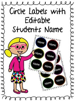 Circle Labels for Students Name in ClassroomThese labels can be used for decoration or labels for students desks, the door and other classroom decor etc. Format PPT - so you can edit the names of your students. Frizzle Dizzle Classroom: https://www.teacherspayteachers.com/Store/Frizzle-Dizzle-Classroom
