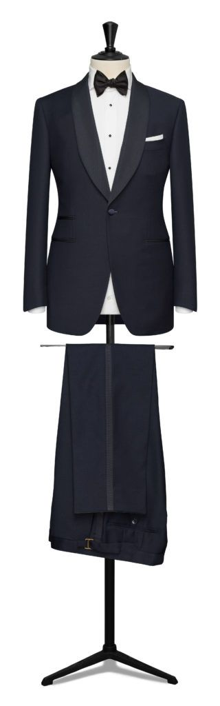 A Tuxedo (also known as a dinner jacket or dinner suit) is a very specific type of suit for special occasions. It is distinguished by the following details.