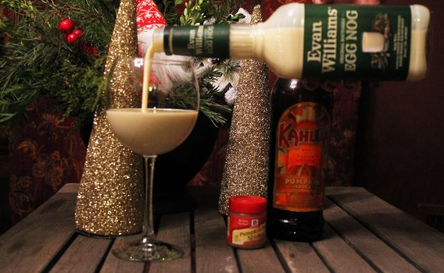 Evan Williams does all the hard work for you. How you mix up the eggnog is all up to you. Hint: pumpkin kahlua makes for a great addition.   5 O'Clock Fashionistas: Pumpkin Eggnog || Tis the season to be spirited