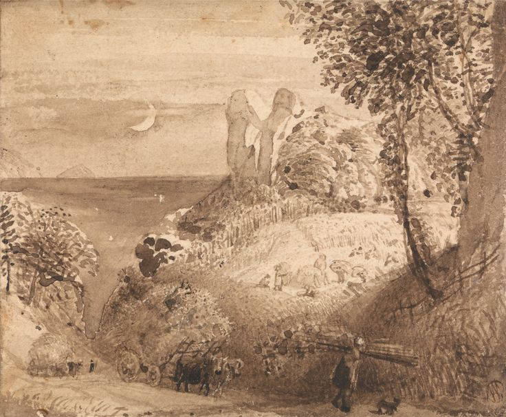 Samuel Palmer, 1805-1881, British, active in Italy (1837-1839), A Pastoral Scene, 1835, Brown wash on wove paper, Yale Center for British Ar...