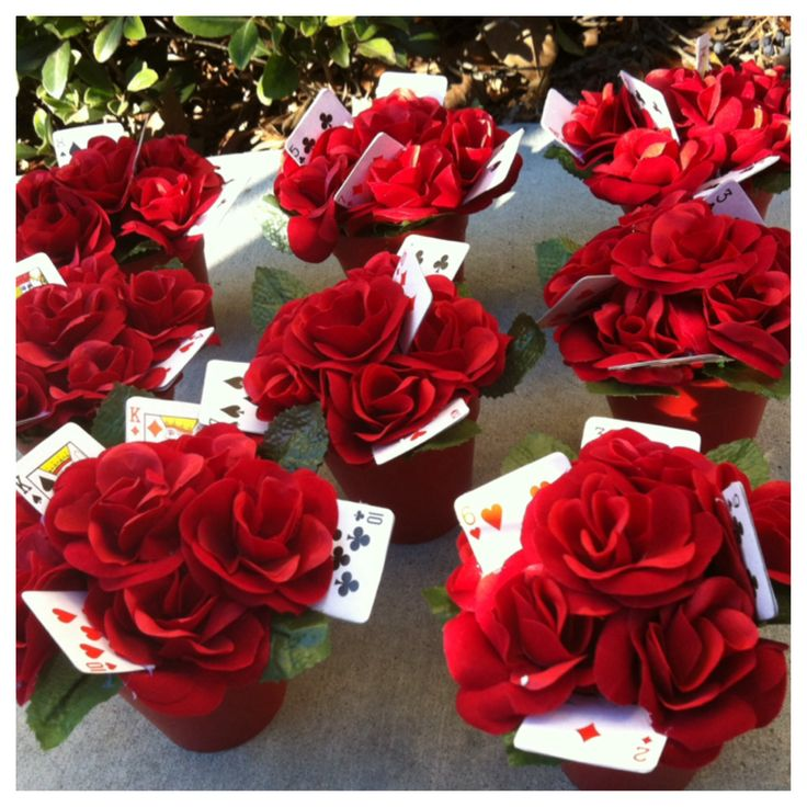 """""""Paint the Roses Red"""", Alice In Wonderland party theme. Made this DIY project as one of the many centerpieces that made up the tea party-feast like table @ my daughter's 12th birthday celebration. Feb 2014."""