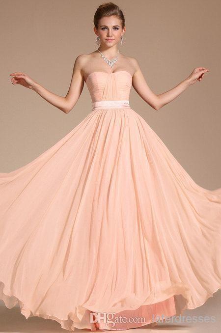Wholesale Bridesmaid Dress - Buy 2014 Elegant Blush Peach Bridesmaid Dresses Strapless A Line Floor Length Maid of Honor Gowns Baech UK Formal Dress with Pleats Sash 0528, $89.53 | DHgate